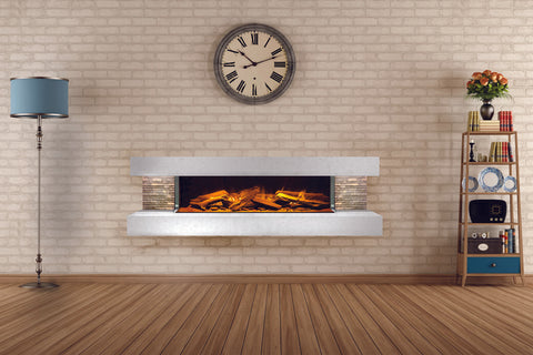 Image of Electric Modern Evonicfires 60 inch White Wall Mount 3-sided Electric Firepalce |  Compton 1000 | Electric Fireplaces Depot