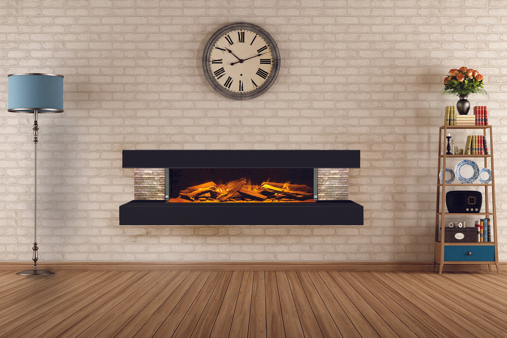 Electric Modern Evonicfires 60 inch Black Wall Mount 3-sided Electric Firepalce | Compton 1000 | Electric Fireplaces Depot