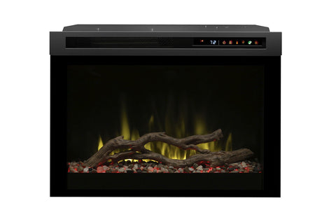 Image of Dimplex DF Series 26 Multi-Fire XHD Plug-In Electric Firebox Insert | Acrylic Ice | Driftwood | River Rocks | DF26DWC-PRO | Electric Fireplaces Depot