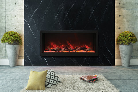 Image of Amantii Panorama 60-in Deep Tall Built-in Electric Fireplace - Heater - Electric Fireplaces Depot