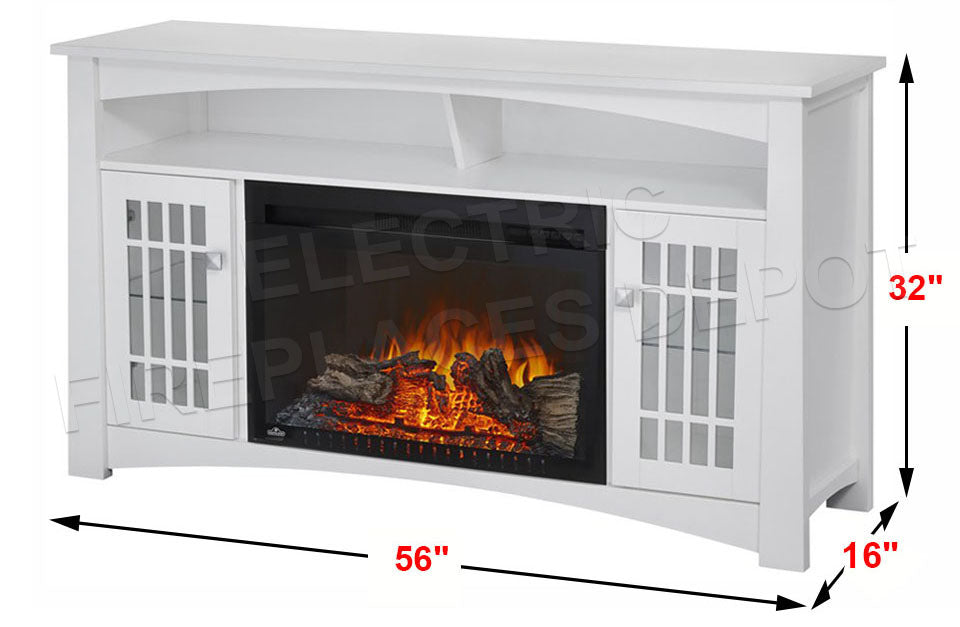 Napoleon Adele Electric Fireplace Mantel Media Console - White Finish - NEFP27-0815W - Electric Freplaces Depot