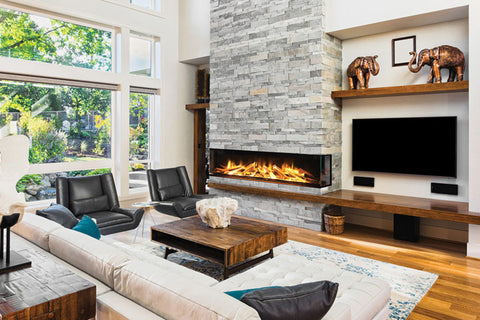 Image of Electric Modern Evonicfires 72 Inch Built-In 3-sided Electric Fireplace - E72-3S - Electric Fireplaces Depot