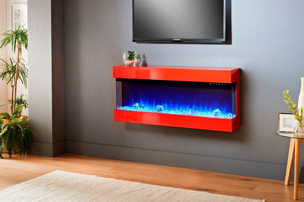 Evolution Fires Empire 44 inch Wall Mount Electric Fireplace | Red Gloss | EF3SER44RG | Electric Fireplaces Depot