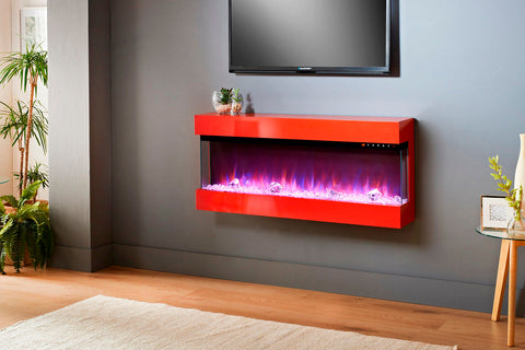 Image of Evolution Fires Empire 44 inch Wall Mount Electric Fireplace | Red Gloss | EF3SER44RG | Electric Fireplaces Depot