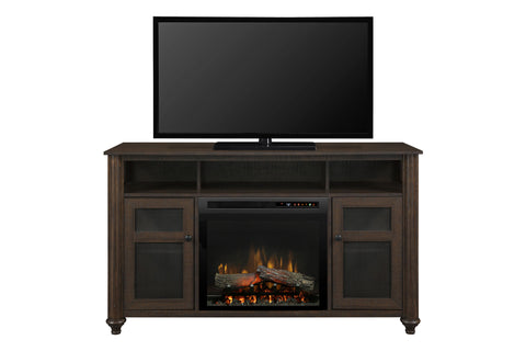 Image of Xavier Media Console Electric Fireplace Brown | 23 XHD Firebox Logs | Entertainment Package Cabinet | GDS23L8-1904GB | Electric Fireplaces Depot