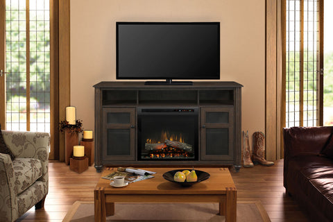 Xavier Media Console Electric Fireplace Brown | 23 XHD Firebox Logs | Entertainment Package Cabinet | GDS23L8-1904GB | Electric Fireplaces Depot