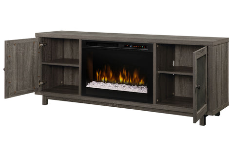 Image of Jesse Media Console Electric Fireplace Iron Mountain | 26 XHD Firebox Acrylic Ice | Entertainment Cabinet | GDS26G8-1908IM | Dimplex | Electric Fireplaces Depot