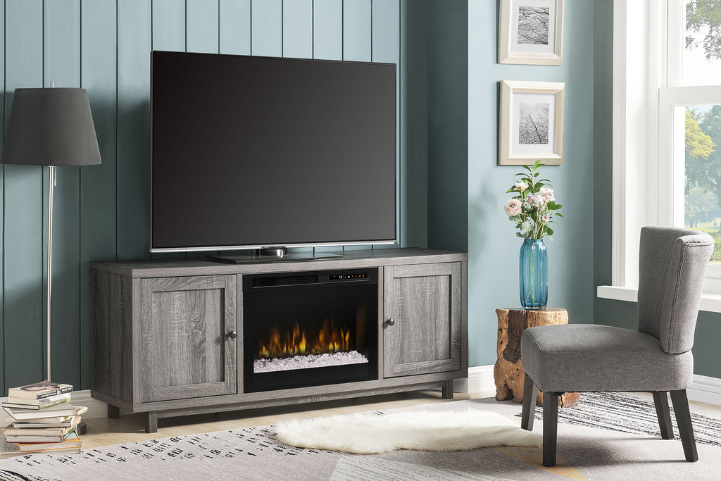 Jesse Media Console Electric Fireplace Iron Mountain | 26 XHD Firebox Acrylic Ice | Entertainment Cabinet | GDS26G8-1908IM | Dimplex | Electric Fireplaces Depot