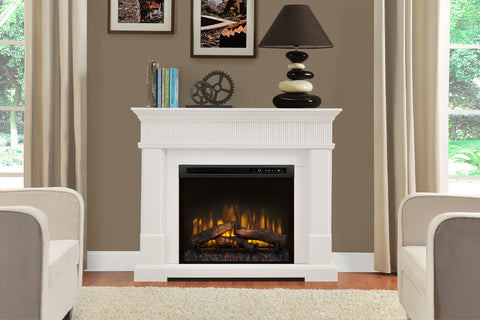 "Jean Electric Fireplace Mantel Package White 28"" Logs Firebox 