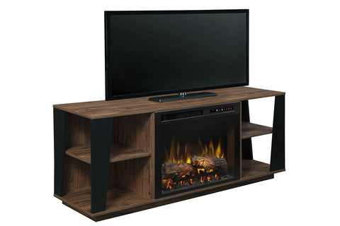 Image of Dimplex Arlo Media Console Electric Fireplace Walnut | 26 XHD Firebox Logs | Entertainment Package Cabinet | GDS26L8-1918TW | Dimplex