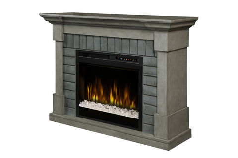 Dimplex Royce Electric Fireplace Mantel Package in Smoke Stack Grey w/ Acrylic Ice