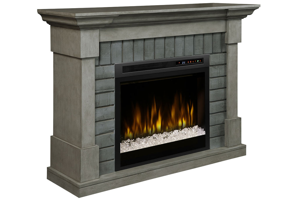 Dimplex  Royce Electric Fireplace Mantel Package Smoke Stack Grey with 28'' Firebox | Electric Fireplace Cabinet | GDS28G8-1924SK | Electric Fireplaces Depot
