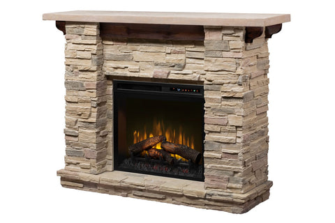 Featherston Electric Fireplace Mantel Package Ledgerock 28'' Firebox | Fireplace Cabinet | GDS28L8-1152LR | Dimplex | Electric Fireplaces Depot