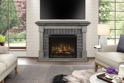 Dimplex  Royce Electric Fireplace Mantel Package Smoke Stack Grey with 28'' Firebox | Electric Fireplace Cabinet | GDS28L8-1924SK | Electric Fireplaces Depot