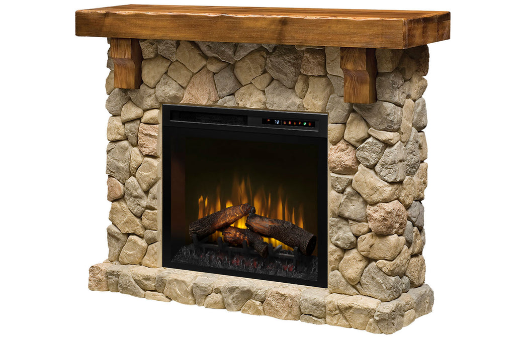 Fieldstone Rustic Electric Fireplace Mantel Package 28'' Firebox | Electric Fireplace Cabinet | GDS28L8-904ST | Dimplex | Electric Fireplaces Depot