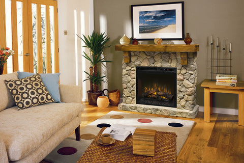 Image of Fieldstone Rustic Electric Fireplace Mantel Package 28'' Firebox | Electric Fireplace Cabinet | GDS28L8-904ST | Dimplex | Electric Fireplaces Depot