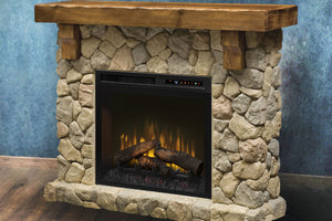 Dimplex Fieldstone Rustic Electric Fireplace Mantel Package | 28'' XHD Firebox Logs