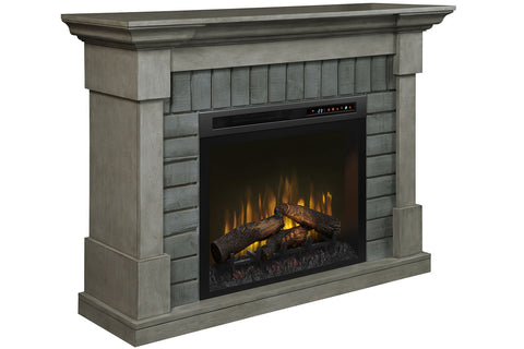 "Image of Royce Electric Fireplace Mantel Package Smoke Stack Grey |  28"" XHD Firebox Logs 