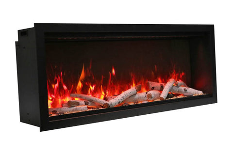 Image of Amantii Symmetry 34'' Built In Fully Recessed Flush Mount Linear Electric Fireplace | Extra Tall Deep | SYM-34-XT | Electric Fireplaces Depot