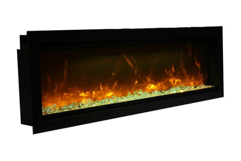 Image of Amantii Symmetry 88'' Built In Fully Recessed Flush Mount Linear Electric Fireplace | SYM-88 | Electric Fireplaces Depot