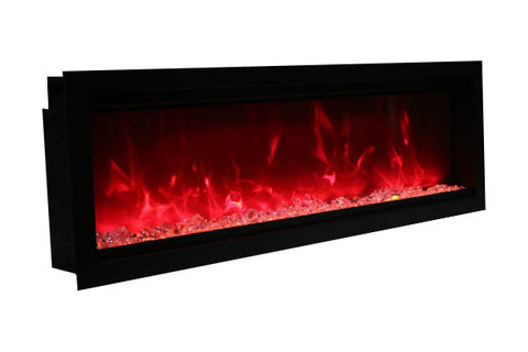Amantii Symmetry 100'' Built In Fully Recessed Flush Mount Linear Electric Fireplace | SYM-100 | Electric Fireplaces Depot