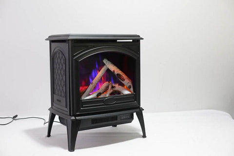 Sierra Flame 23-inch Cast Iron Freestanding Electric Stove - Electric Fireplace Heater - Logs Set - Electric Fireplaces Depot