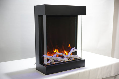 Image of Amantii Tru View 2939 XL Cube 3-Sided View Built In Wall Mount Electric Fireplace | 2939-TRU-VIEW-XL - Electric Fireplaces Depot