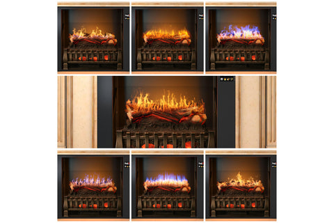 Magik Flame Churchill White Corner Electric Fireplace Mantel | 28-inch HoloFlame Firebox Logs | Fireplace Cabinet | MGK-CHURCHILL | Electric Fireplaces Depot