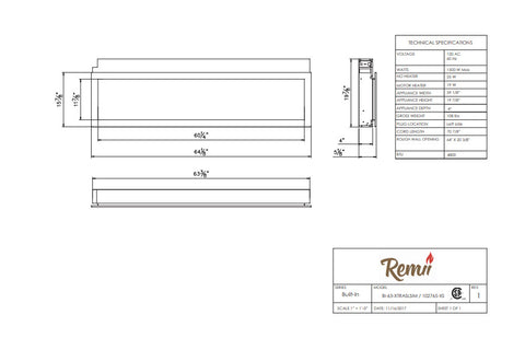 Remii 65'' Extra Slim Built-In Electric Fireplace - Heater - Outdoor - Dimensions - Electric Fireplaces Depot