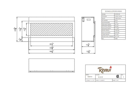 Image of Remii 45 inch Extra Deep Built-In Electric Fireplace - Heater - Modern - Dimensions - Electric Fireplaces Depot