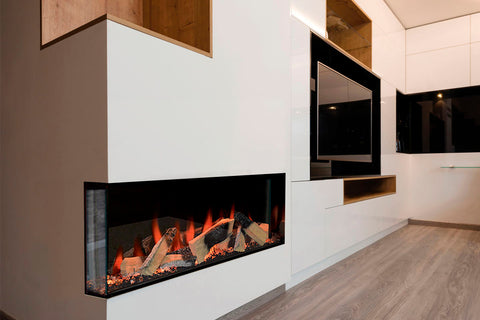 Electric Modern Evonicfires Halo Series 40-inch Built-In 2 sided Corner Electric Fireplace - Kiruna | EV-FP-Halo-KIRUNA | Electric Fireplaces Depot