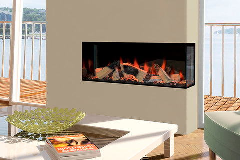 Image of Electric Modern Evonicfires Halo Series 40-inch Built-In 2 sided Corner Electric Fireplace - Kiruna | EV-FP-Halo-KIRUNA | Electric Fireplaces Depot