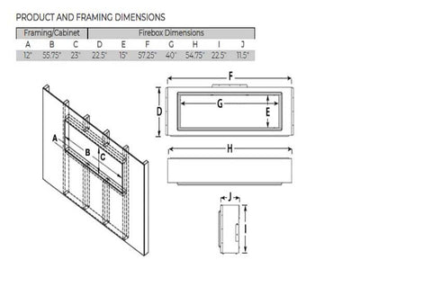 "Image of Modern Flames Landscape Full View 40"" Built-In Linear Electric Fireplace - Dimensions - Electric Fireplaces Depot"