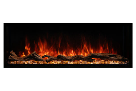 "Modern Flames Landscape Pro 58"" 3-Sided Electric Fireplace Wall Mount Studio Suite Mantel in White 