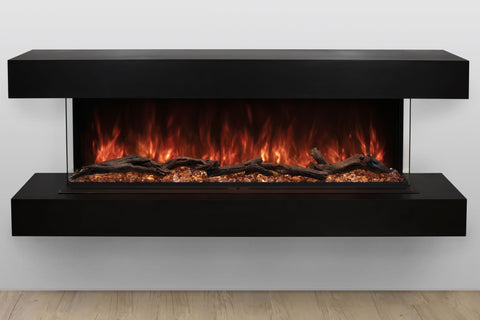 Image of Modern Flames Landscape Pro 70'' 3-Sided Electric Fireplace Wall Mount Studio Suite Mantel in Espresso | WMC56LPMESP | Electric Fireplaces Depot