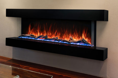 Modern Flames Landscape Pro 94'' 3-Sided Electric Fireplace Wall Mount Studio Suite Mantel in Espresso | WMC80LPMESP | Electric Fireplaces Depot
