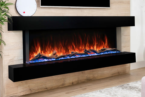 Modern Flames Landscape Pro 82'' 3-Sided Electric Fireplace Wall Mount Studio Suite Mantel in Espresso | WMC68LPMESP | Electric Fireplaces Depot