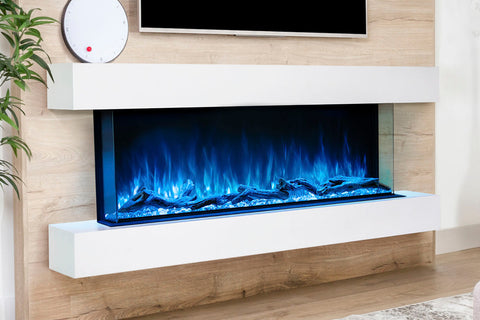 Image of Modern Flames Landscape Pro 70'' 3-Sided Electric Fireplace Wall Mount Studio Suite Mantel in White | WMC56LPMRTF | Electric Fireplaces Depot