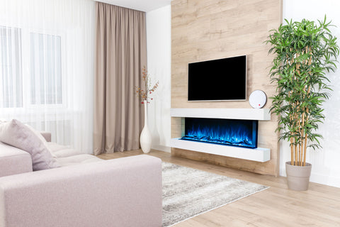 Image of Modern Flames Landscape Pro 82'' 3-Sided Electric Fireplace Wall Mount Studio Suite Mantel in White | WMC68LPMRTF | Electric Fireplaces Depot