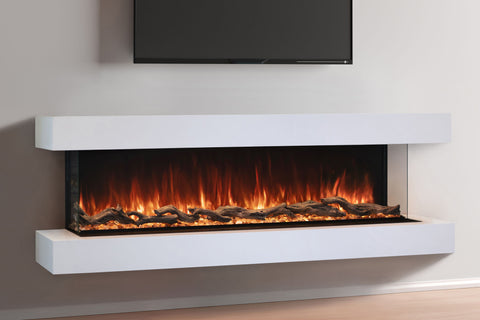 Modern Flames Landscape Pro 70'' 3-Sided Electric Fireplace Wall Mount Studio Suite Mantel in White | WMC56LPMRTF | Electric Fireplaces Depot