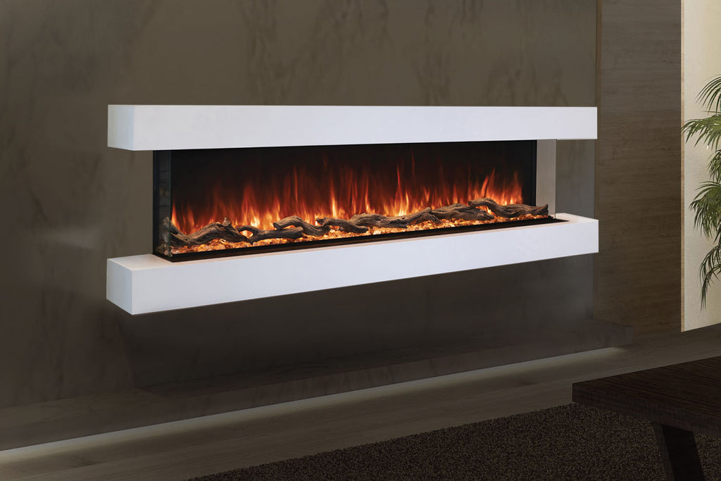 Modern Flames Landscape Pro 82'' 3-Sided Electric Fireplace Wall Mount Studio Suite Mantel in White | WMC68LPMRTF | Electric Fireplaces Depot