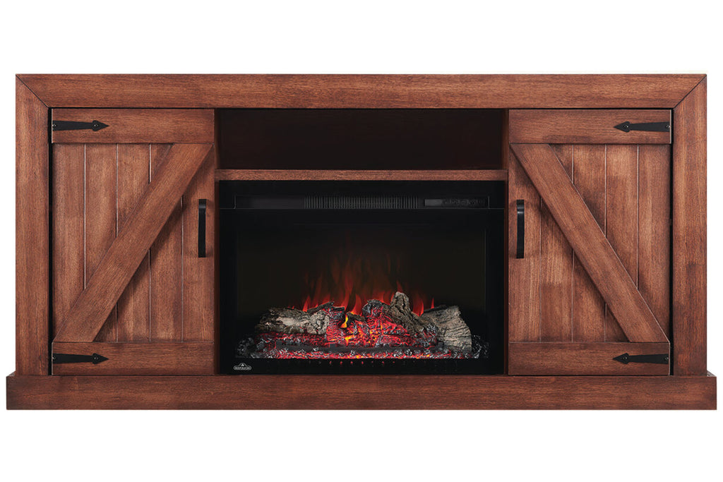 Napoleon Lambert Electric Fireplace Media Console Rustic Wood & 27 inch Firebox | Entertainment Cabinet | NEFP27-0519RW | Electric Fireplaces Depot