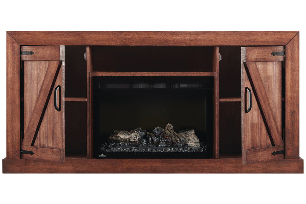 Lambert Electric Fireplace Media Console Rustic Wood & 27 inch Firebox | Entertainment Cabinet | NEFP27-5019RW | Napoleon | Electric Fireplaces Depot