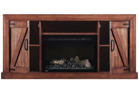 Image of Lambert Electric Fireplace Media Console Rustic Wood & 27 inch Firebox | Entertainment Cabinet | NEFP27-5019RW | Napoleon | Electric Fireplaces Depot
