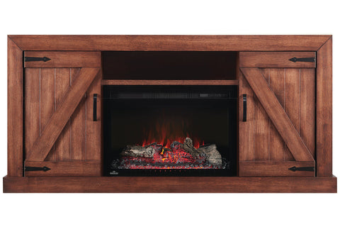 Image of Napoleon Lambert Electric Fireplace Media Console Rustic Wood & 27 inch Firebox | Entertainment Cabinet | NEFP27-0519RW | Electric Fireplaces Depot