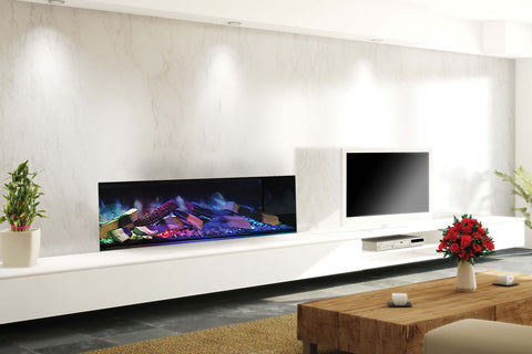 Image of Electric Modern Evonicfires Halo Series 40-inch Built-In Linear Electric Fireplace - Kiruna | EV-FP-Halo-KIRUNA | Electric Fireplaces Depot