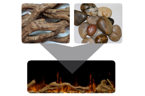Driftwood and River Rocks Media Accessories for Dimplex Ignite XLF and Prism BLF Models