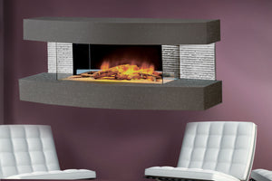 Evolution Fires Miami Curve 48'' Wall Mount 3-sided Electric Fireplace - Carrara Grey