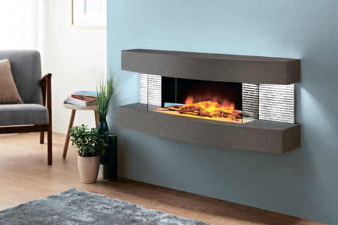 Evolution Fires Miami Curve 48 inch Wall Mount Electric Fireplace | Carrara Grey | EFMCC | Electric Fireplaces Depot
