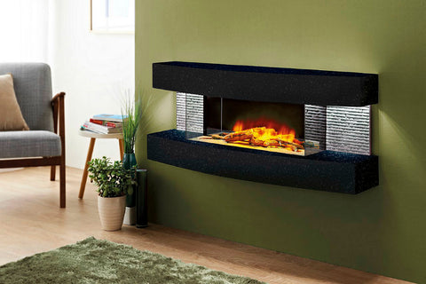 Evolution Fires Miami Curve 48 inch Wall Mount Electric Fireplace | Star Galaxy Graphite | EFMCB | Electric Fireplaces Depot